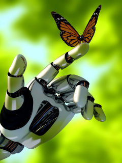 Screenshot №1 pro téma Robot hand and butterfly 240x320