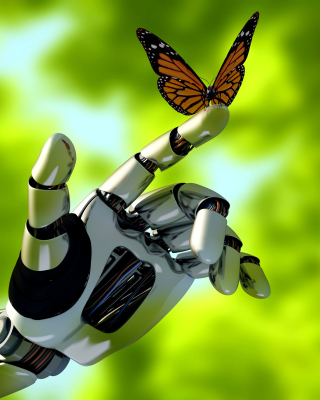 Robot hand and butterfly Wallpaper for 240x320