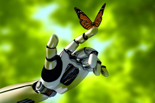 Robot hand and butterfly Wallpaper for Android, iPhone and iPad