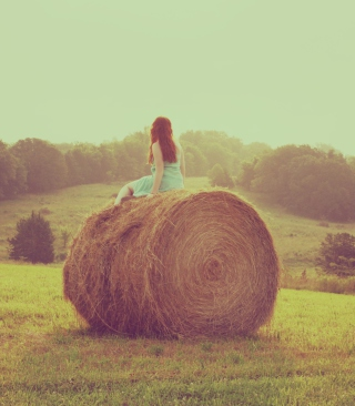 Girl In Field Wallpaper for Nokia 5233