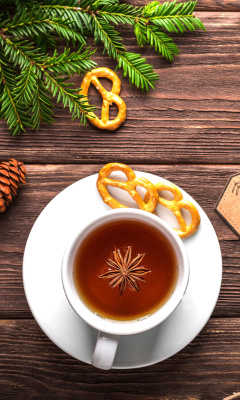 Christmas Cup Of Tea wallpaper 240x400