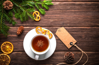 Christmas Cup Of Tea Background for Android, iPhone and iPad