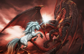 Unicorn And Dragon Picture for Android, iPhone and iPad