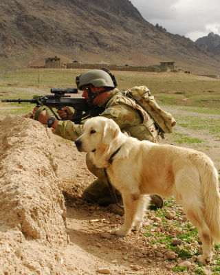 Soldier With Dog Wallpaper for HTC Titan