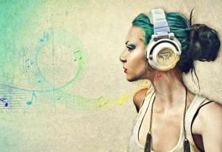 Girl With Headphones Artistic Portrait Background for 1024x600