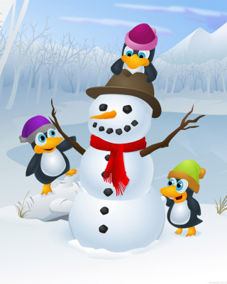 Free Snowman With Penguins Picture for Nokia X3-02