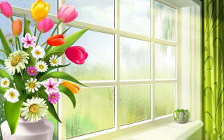 Summer Flowers Illustration Wallpaper for Android, iPhone and iPad