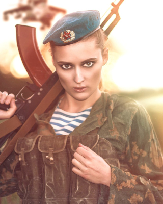 Russian Girl and Weapon HD Background for Nokia C7