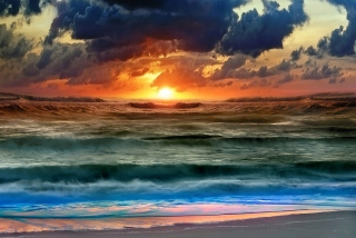 Colorful Sunset And Waves Picture for Android, iPhone and iPad
