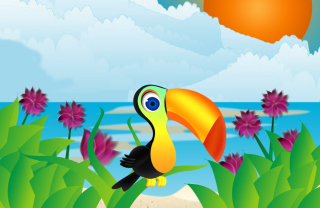 Toucan On Beach Background for Android, iPhone and iPad