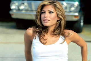Eva Mendes In White Tank Top Wallpaper for Android, iPhone and iPad
