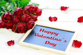 Happy Valentines Day with Roses Background for Android, iPhone and iPad