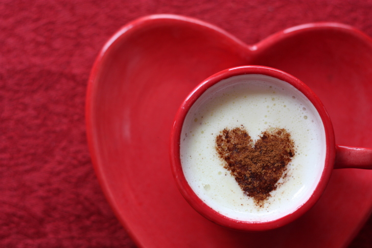 Small coffee mug and heart plate wallpaper