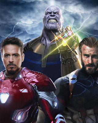 Avengers Infinity War with Captain America, Iron Man, Thanos sfondi gratuiti per HTC Titan