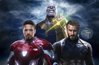 Avengers Infinity War with Captain America, Iron Man, Thanos - Obrázkek zdarma pro Desktop Netbook 1366x768 HD