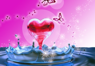 3D Heart In Water Background for Android, iPhone and iPad
