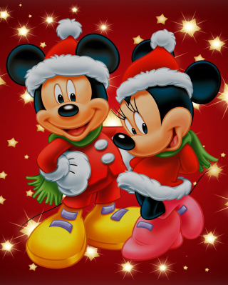Mickey And Mini Mouse Christmas Time Picture for 176x220