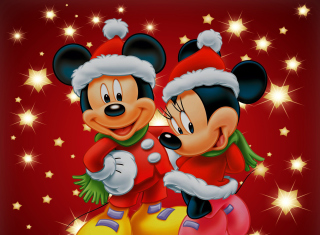 Mickey And Mini Mouse Christmas Time - Obrázkek zdarma pro Fullscreen 1152x864