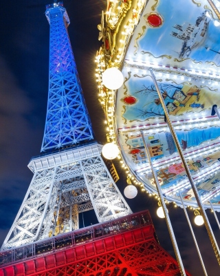 Eiffel Tower in Paris and Carousel Wallpaper for Nokia Asha 306