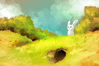 Cute White Bunny Painting Picture for Android, iPhone and iPad