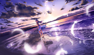 Anime Girl On Beach - Fondos de pantalla gratis