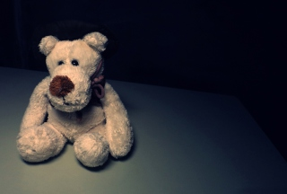 Sad Teddy Bear Sitting Alone Wallpaper for Android, iPhone and iPad