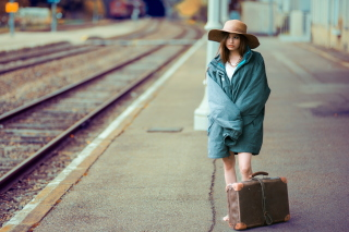 Girl on Railway Station Wallpaper for Android, iPhone and iPad