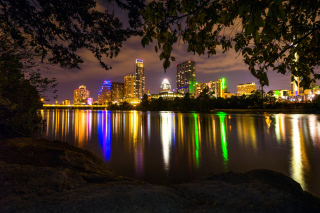 USA Skyscrapers Rivers Austin Texas Night Cities Wallpaper for Android, iPhone and iPad