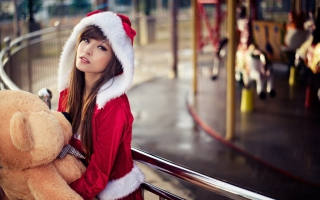 Santa Girl With Teddy Bear Background for Android, iPhone and iPad