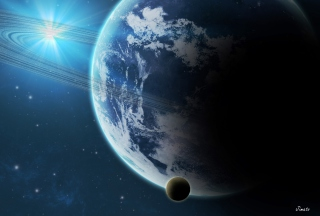 Blue Planet With Dark Satellite - Fondos de pantalla gratis