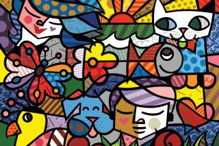 Romero Britto Design Background for Android, iPhone and iPad
