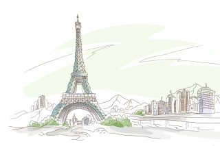 Drawing Of Eiffel Tower Background for Android, iPhone and iPad