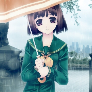 Anime Girl in Rain Wallpaper for iPad 3