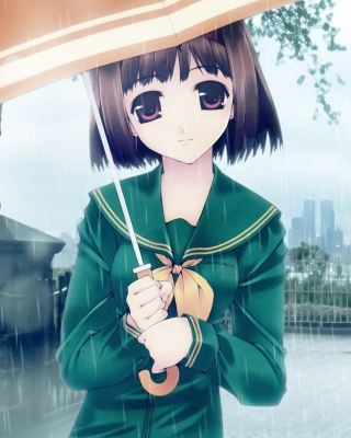 Anime Girl in Rain Picture for 240x320