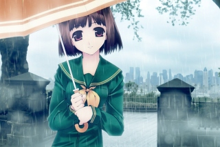 Anime Girl in Rain Wallpaper for Samsung Galaxy S6 Active