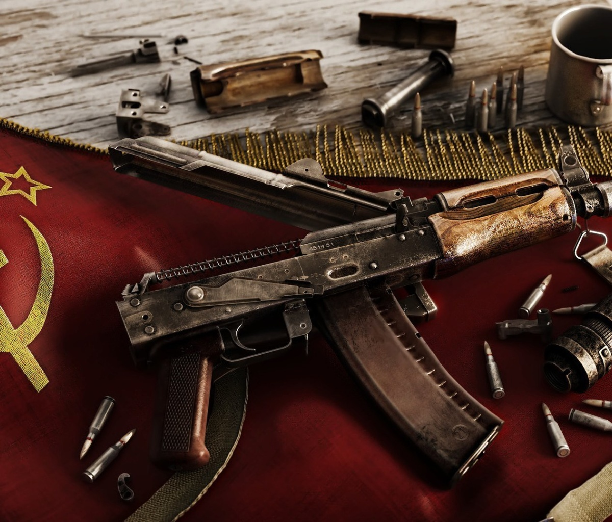 Sfondi USSR Flag and AK 47 Kalashnikov rifle 1200x1024