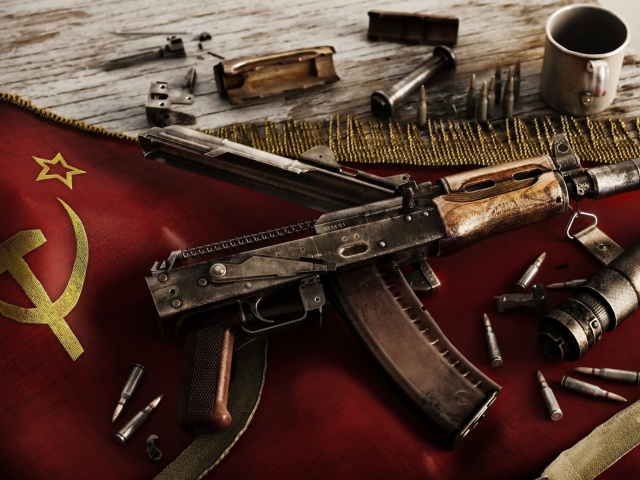 Screenshot №1 pro téma USSR Flag and AK 47 Kalashnikov rifle 640x480