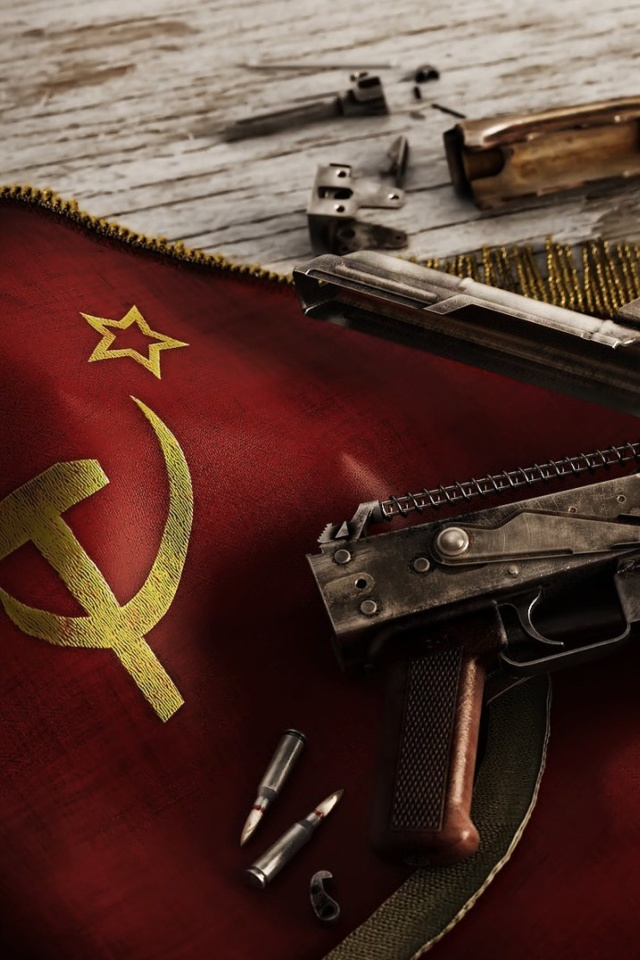 Sfondi USSR Flag and AK 47 Kalashnikov rifle 640x960