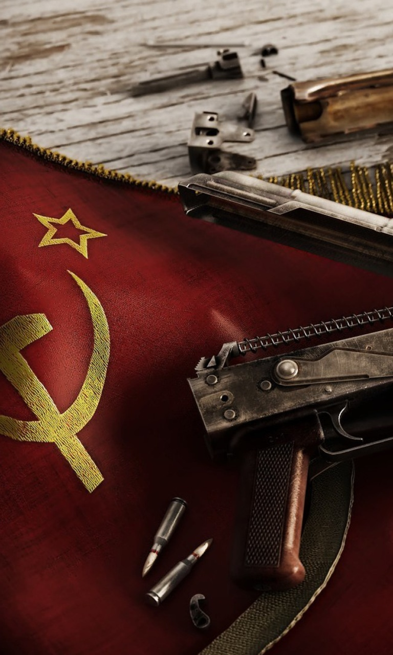 Screenshot №1 pro téma USSR Flag and AK 47 Kalashnikov rifle 768x1280