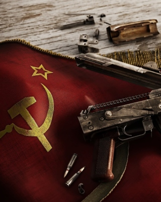 USSR Flag and AK 47 Kalashnikov rifle sfondi gratuiti per 640x960