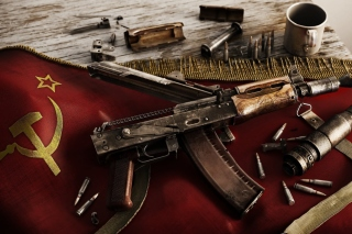 USSR Flag and AK 47 Kalashnikov rifle Wallpaper for 1366x768