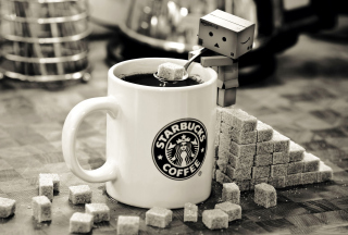 Free Danbo Loves Starbucks Coffee Picture for Android, iPhone and iPad