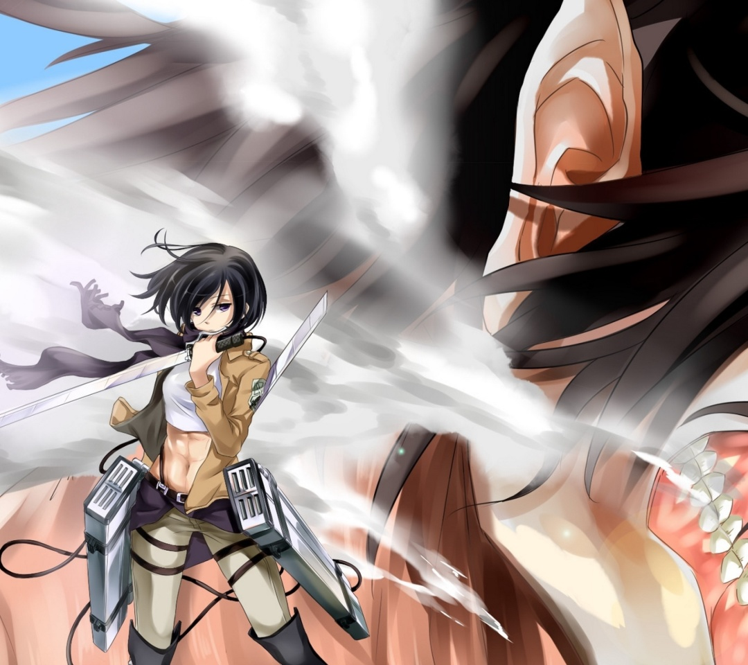 Screenshot №1 pro téma Attack on Titan with Eren and Mikasa 1080x960