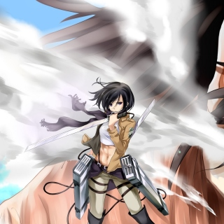 Attack on Titan with Eren and Mikasa Picture for iPad 3