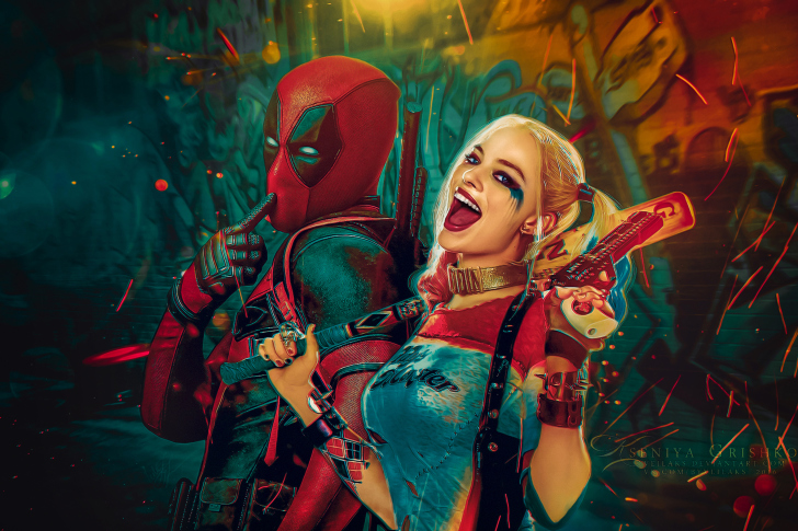 Deadpool, Ryan Reynolds, Wade Wilson, Harley Quinn wallpaper