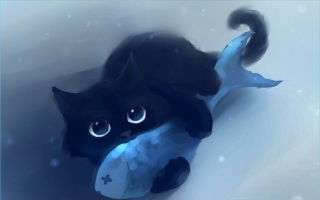 Black Cat & Blue Fish Wallpaper for Android, iPhone and iPad