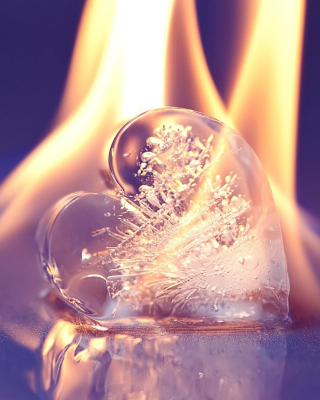 Ice heart in fire Background for iPhone 5S