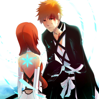 Inoue Orihime and Kurosaki Ichigo in Bleach Background for iPad Air