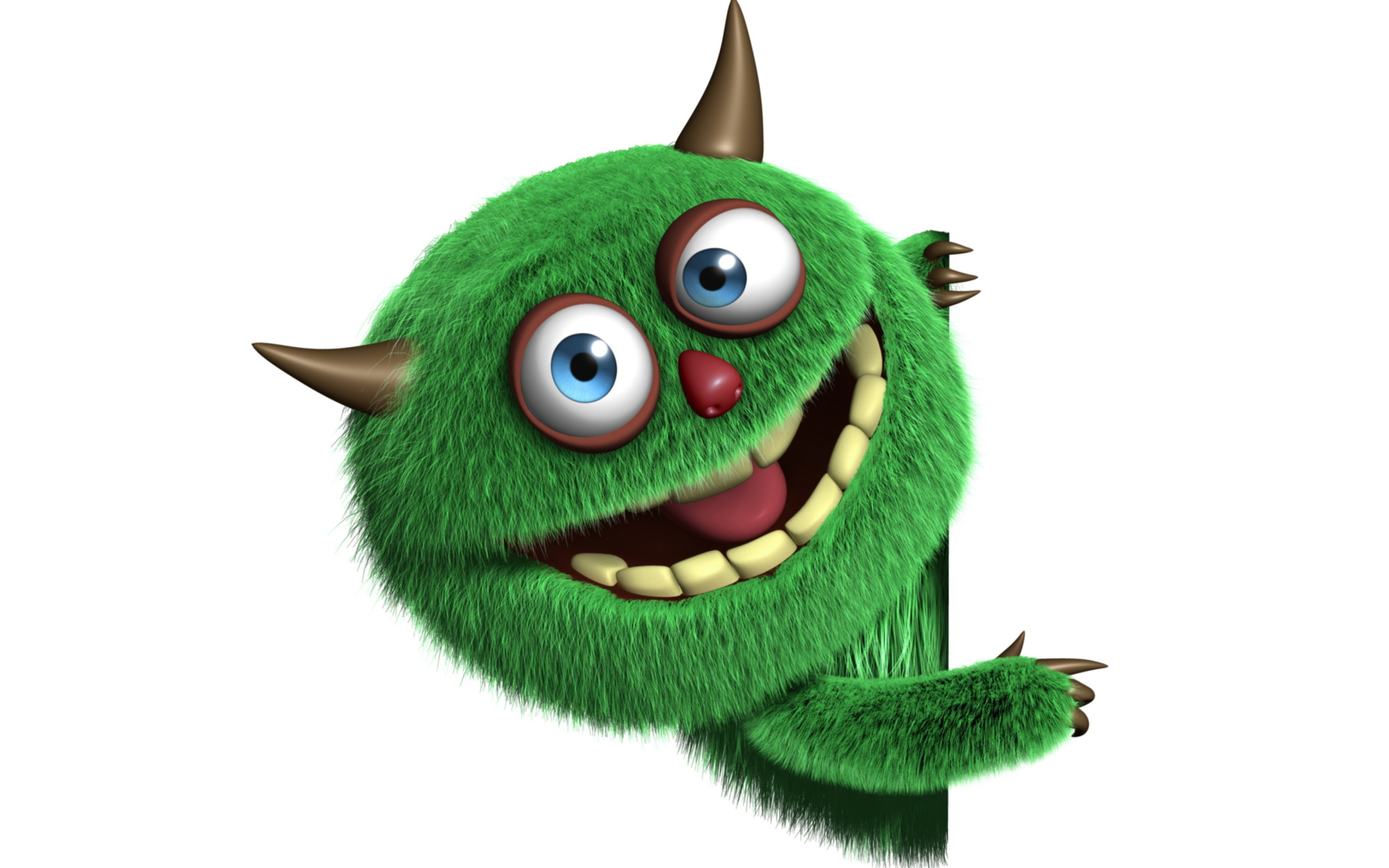 Screenshot №1 pro téma Fluffy Green Monster 1920x1200