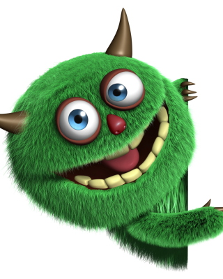 Fluffy Green Monster Background for 480x800